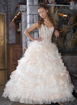 A Line Wedding Dress With Horizontal Ruffles