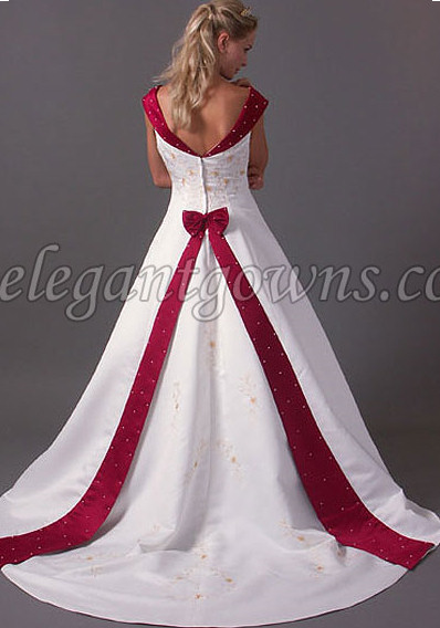 V Neck Pearls White And Red Wedding Dress U2013 A Line Wedding Dresses Photo  Gallery