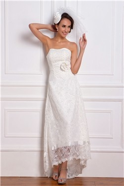 Asymmetrical Length Second Wedding Dress