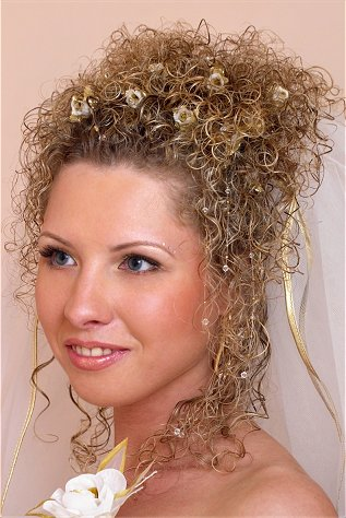 bridal hairstyle curly updo with golden accessories