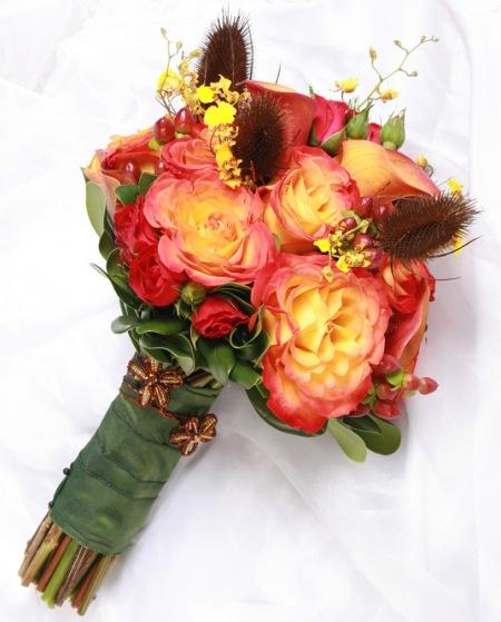 Orange-Yellow Fall Roses Bridal Bouquet - Wedding Bouquets Photo ...