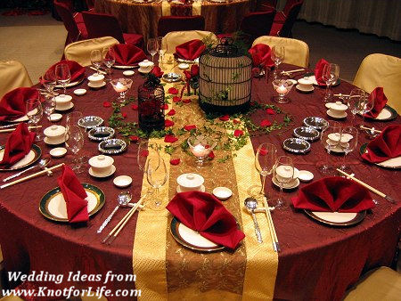 Red And Gold Wedding Color SchemeTable Decoration