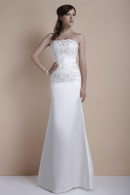 Second Wedding Sheath Satin Wedding Dress