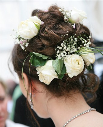 Bridal Hairstyle - Updo with Fresh White Flowers