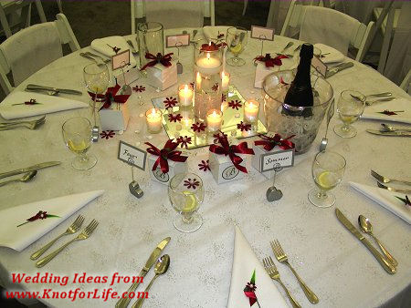 White and Red Table Setting with Centerpiece Details - Knot For Life
