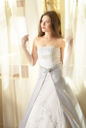 White and silver a line dress a line wedding dresses for Silver and white wedding dresses
