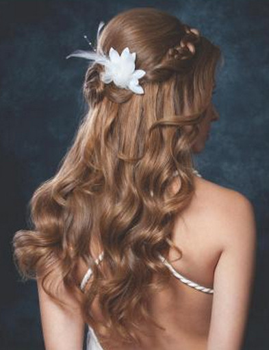 Back view of the romantic fairytale wedding hairstyle