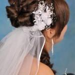 Loopy Bun Wedding Hairstyle with Veil