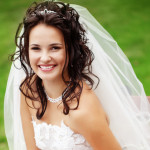 Wavy Wedding Hairstyle with Veil and Tiara