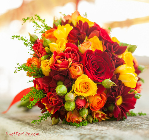 Fall Roses and Mums Wedding Bouquet